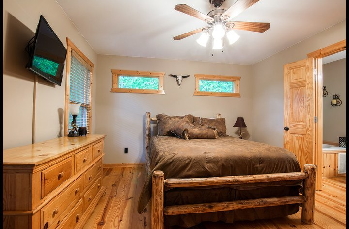 Master Bedroom with Custom Log Bed & HDTV